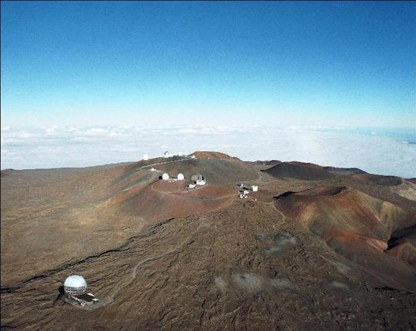 An artist's rendering of the Thirty Meter Telescope atop Mauna Kea.