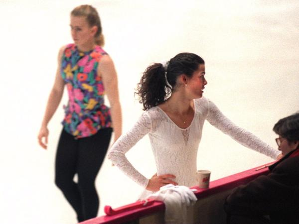 Tonya Harding and Nancy Kerrigan at a practice session at the 1994 Olympics in Lillehammer, Norway.