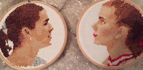 Contributions to the museum came from around the country, including these cross-stitched portraits of Kerrigan and Harding.