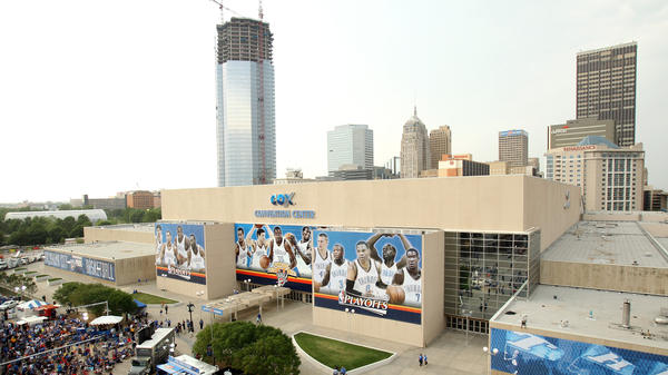 A general view of downtown Oklahoma City as basketball fans gather outside Oklahoma City Arena. The once run-down area has undergone a major transformation over the past 20 years.