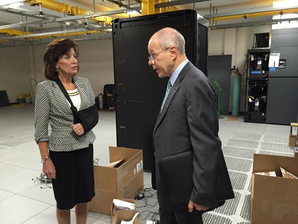 Lt. Gov. Kathy Hochul touring NYSERNet, a data center in Syracuse last week.
