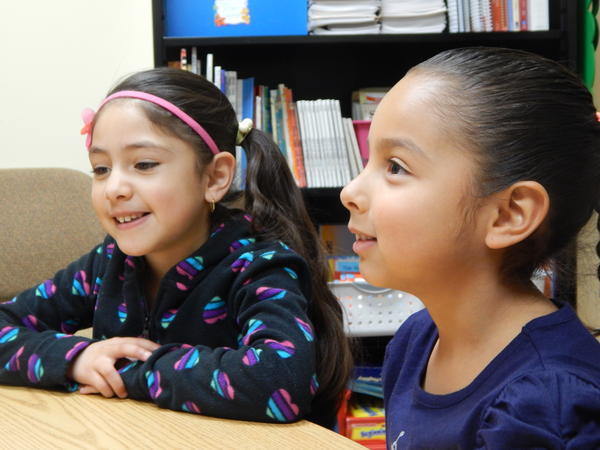 Yocelyn Mendoza-Esparza (left) and Emily Espinoza-Lopez are learning English at Park Layne Elementary School in New Carlisle.