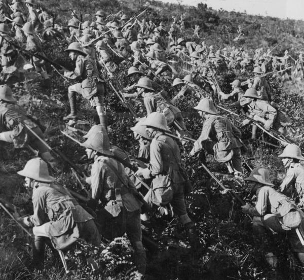 British troops advancing at Gallipoli in August 1915.