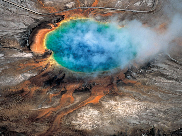 The Grand Prismatic hot spring in Yellowstone National Park is among the park's myriad hydrothermal features created by the fact that Yellowstone is a supervolcano.
