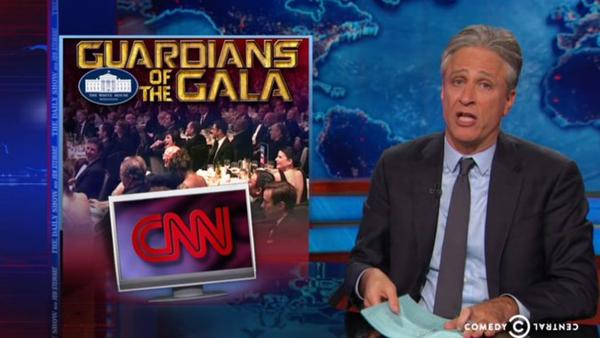 Jon Steward lampooned CNN for covering the White House Correspondents' Dinner instead of the riots in Baltimore. (Screenshot/Comedy Central)