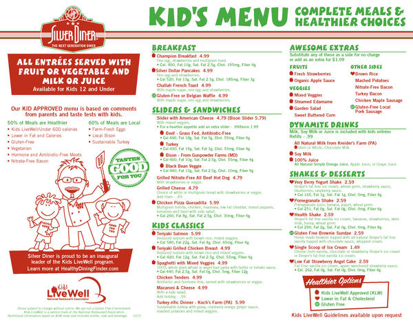 The revamped children's menu at Silver Diner