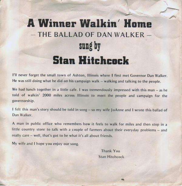 "The back cover of the 45 RPM single ""A Winner Walkin' Home: The Ballad of Dan Walker."""