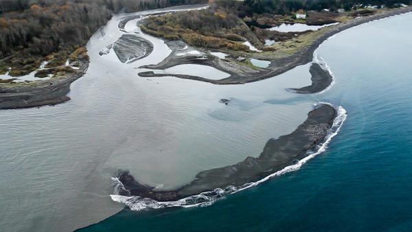 <p>When this photo was taken, about 3 million cubic yards of sediment had been flushed down the Elwha River since dam removal began in 2011. That's only 16 percent of what's expected to move downstream over five years.</p>