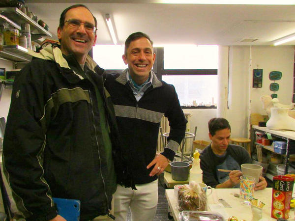 Grand winner Eric Feinstein won a tour of Jonathan Adler HQ. Here they are in matching stripes.