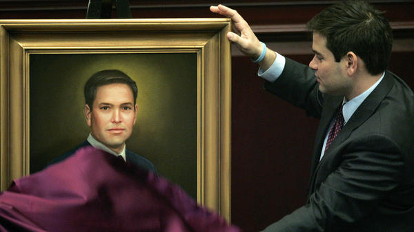 Rubio in 2008 as Florida House speaker, unveiling a portrait that would hang in the House chamber.