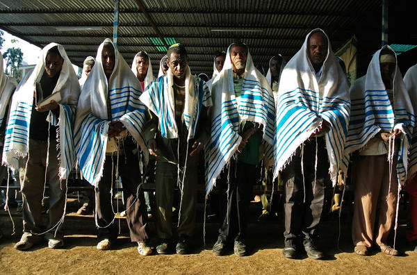 Jewish worshippers gather at a makeshift synagogue established by the Jewish Agency for Israel for Ethiopian Jews in Gondar, Ethiopia, in 2012.