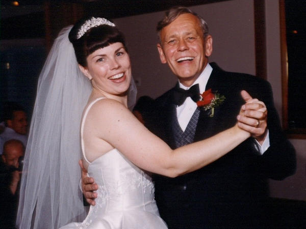 Jennifer Rodgers and her father on the day of her wedding.