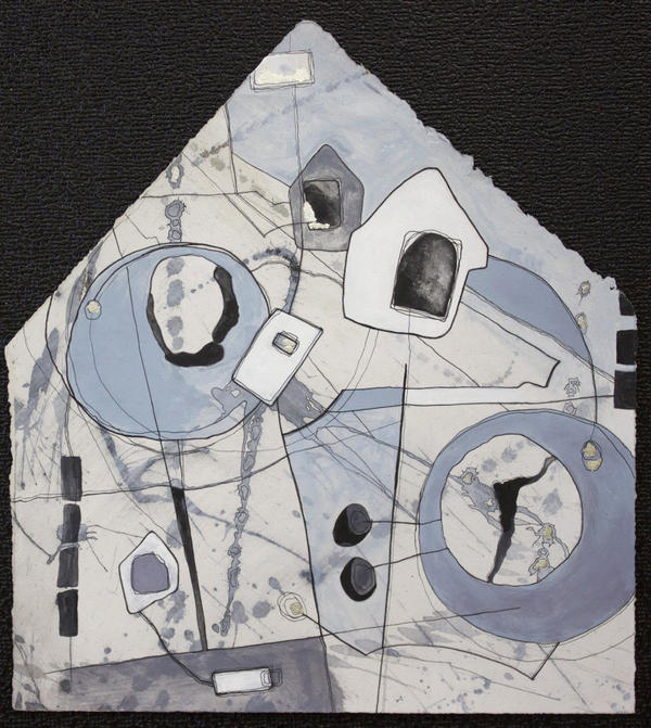 Rodgers uses abstract shapes of home and movement to evoke her father's journey to living in a hospital in<em> Liminal Space. </em>