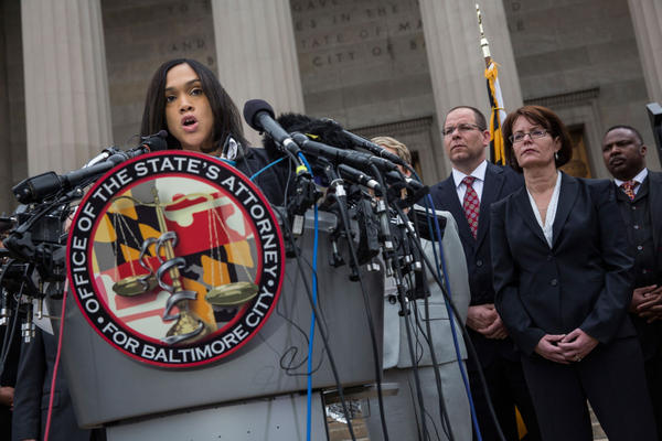 Baltimore's top prosecutor Marilyn J. Mosby announces that criminal charges will be filed against Baltimore police officers in the death of Freddie Gray on May 1, 2015 in Baltimore, Maryland. Gray died in police custody after being arrested on April 12, 2015. (Andrew Burton/Getty Images)