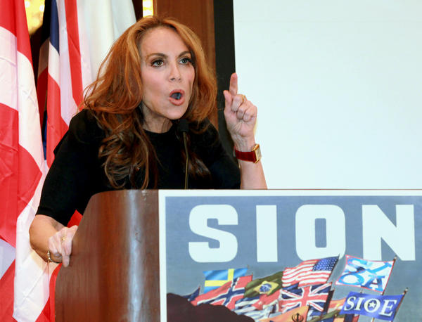 "Blogger Pamela Geller speaks at a Sept. 11, 2012, conference she organized in New York titled ""Stop Islamization of America."""