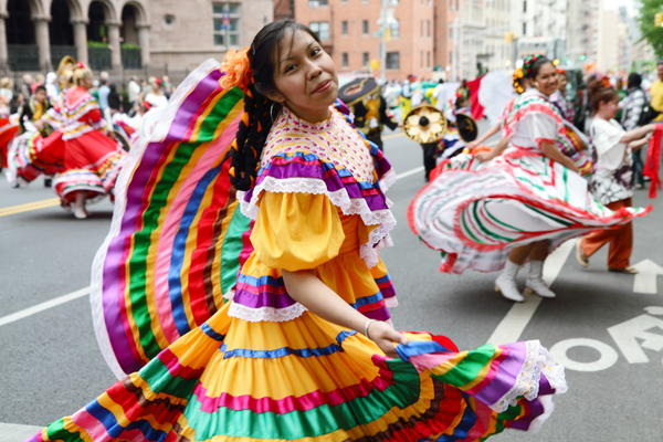 Cinco de Mayo is a Mexican holiday, but more widely celebrated in the U.S. This parade celebration was in May 2012 on Central Park West in  New York City. (Paul Stein/Flickr Creative Commons)