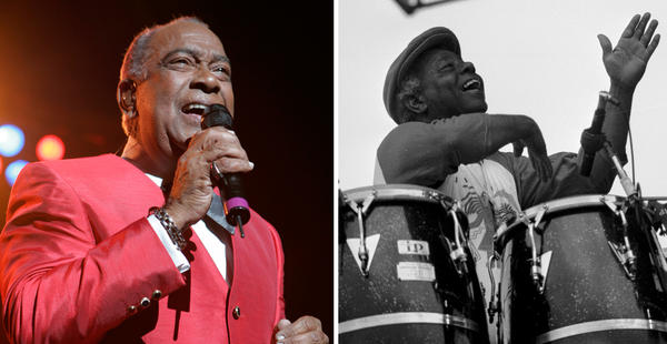 Cheo Feliciano performs in New York,  June 2008 (Frank Franklin II/AP) and Armando Peraza performs in Italy, 1984. (Heinrich Klaffs/Wikimedia Commons)