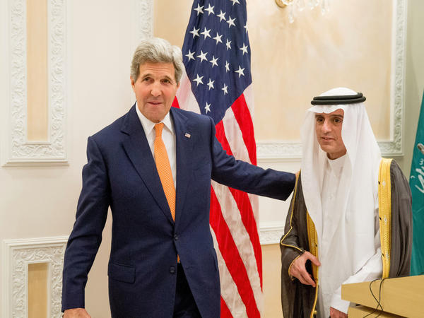 U.S. Secretary of State John Kerry (left) and Saudi Foreign Minister Adel al-Jubeir held a joint news conference Thursday in Riyadh, Saudi Arabia.