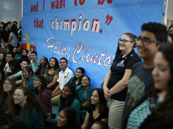 Students at Rancho High School wait for Hillary Clinton to visit last week. The school is 70 percent Hispanic, and two-thirds of students are economically disadvantaged, but it has a proud history of political involvement.
