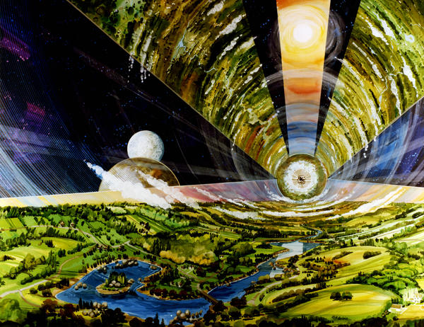"""Astronomer Chris Impey examines the possibilities of the universe in his new book <em>Beyond</em>. """"I like the idea that the universe — the boundless possibility of 20 billion habitable worlds — has led to things that we can barely imagine,"""" he says. In the 1970s, NASA Ames conducted several space colony studies, commissioning renderings of the giant spacecraft which could house entire cities."""
