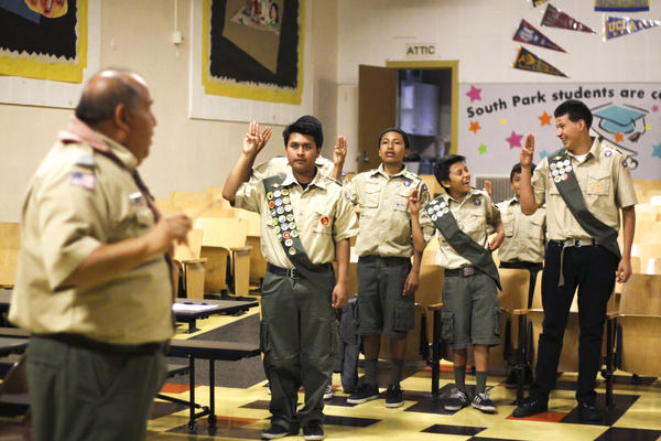 Romy Vasquez leads the boys in drills ahead of an upcoming Eagle Scout ceremony.