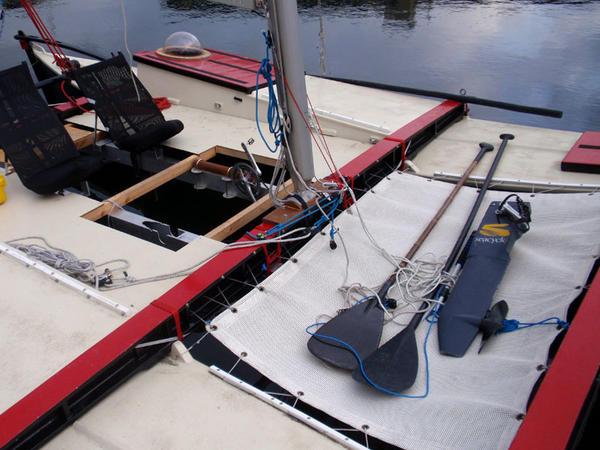 Team Puffin has alternate methods of propulsion for their Wharram Tiki 21 catamaran.