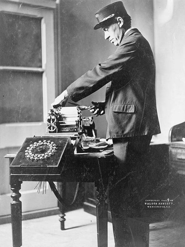 Telegraph operator, 1908.