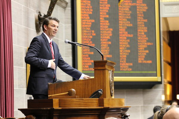 House Speaker Todd Richardson takes to the dais after he was elected speaker of the Missouri House. Richardson has emerged as one of the most promising Republican politicians in a generation.