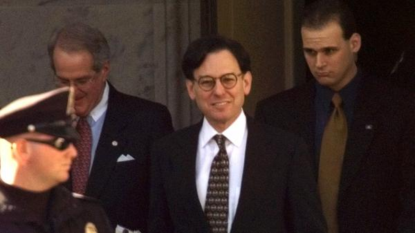 Presidential adviser Sidney Blumenthal, then an adviser to President Clinton, leaves Capitol Hill in 1999 after being deposed in the president's impeachment trial.