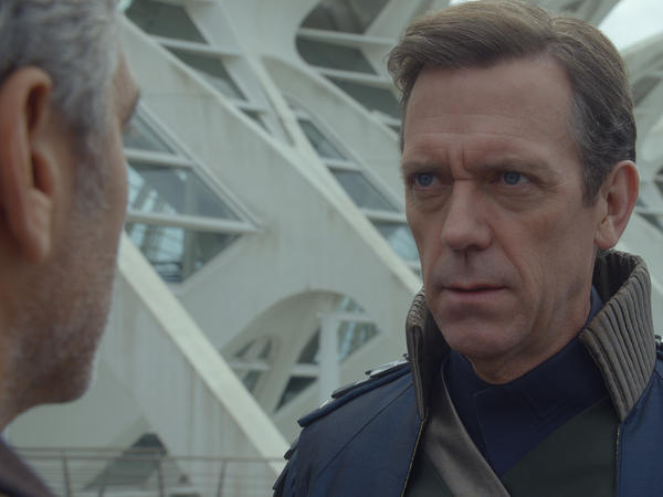 Hugh Laurie is British scientist David Nix in <em>Tomorrowland</em>.