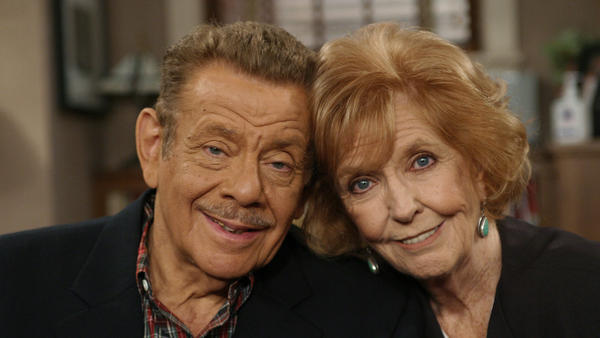 In this Nov. 6, 2003, file photo, Jerry Stiller and his wife Anne Meara pose on the set of <em>The King of Queens</em>, at Sony Studio in Culver City, Calif. Meara, whose comic work with Stiller helped launch a 60-year career in film and TV, has died. She was 85. Jerry Stiller and son Ben Stiller say Meara died Saturday, May 23, 2015.