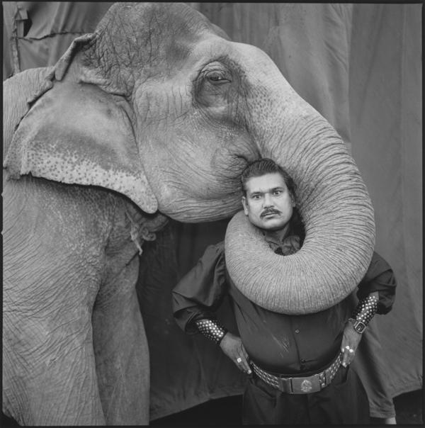Ram Prakash Singh with His Elephant Shyama, Great Golden Circus, Ahmedabad, India 1990