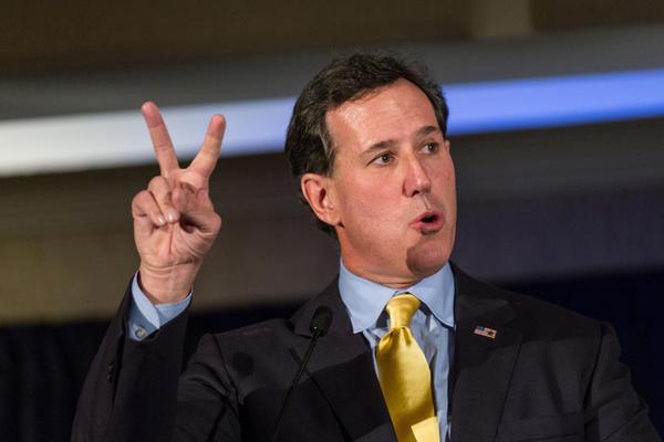Former Pennsylvania Sen. Rick Santorum speaks during the Republican Society Patriot Dinner at the Citadel Military College in Charleston, S.C., in February.