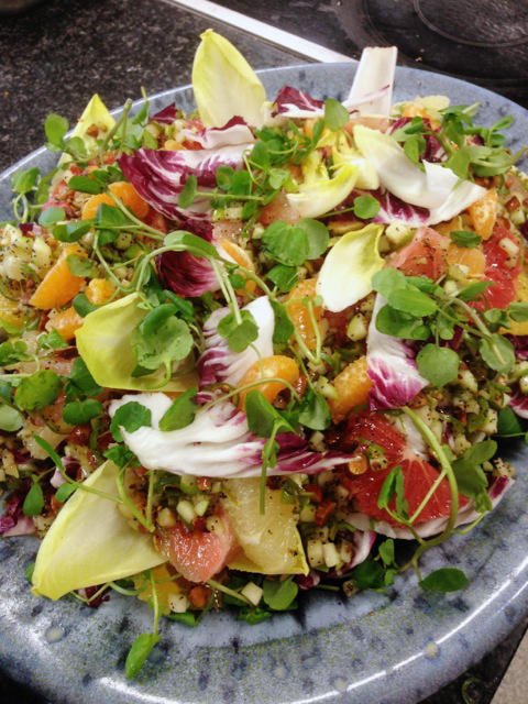 On the day NPR visited, Ramael Scully, head chef at the Ottolenghi restaurant Nopi, spent the morning trying out recipes for citrus salads. Here's the finished product.