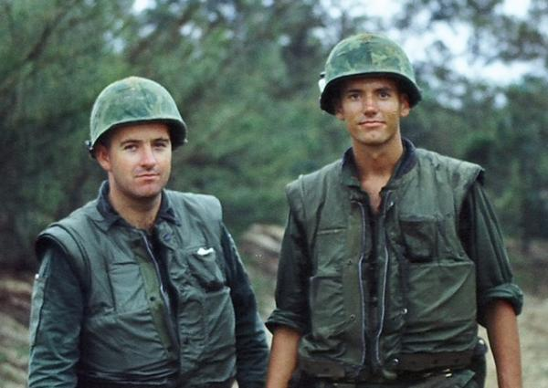 "Lt. James ""Kelly"" Patterson, left, and his brother George ""Luck"" Patterson in Vietnam. When James Patterson was given a break during the Vietnam War, he went to find his brother in Vietnam. Right after their time together, his plane was shot down."