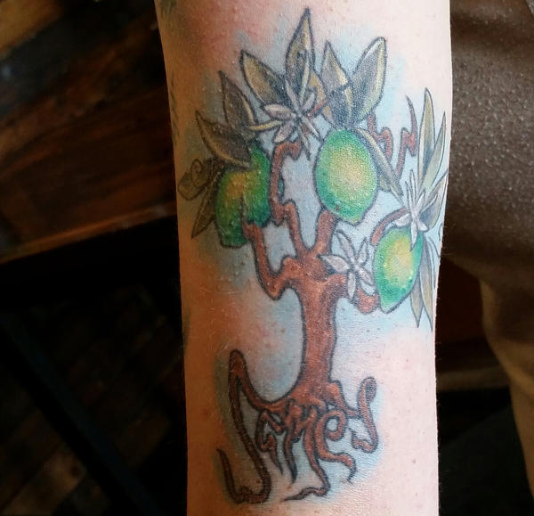 A tattoo Tiffany Addington got in memory of her best friend, James Carmack. He died of a heroin overdose in 2013.