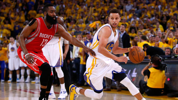 Stephen Curry of the Golden State Warriors drives on James Harden of the Houston Rockets in the second half of the Warrior's series-clinching win Wednesday night in Oakland, Calif.