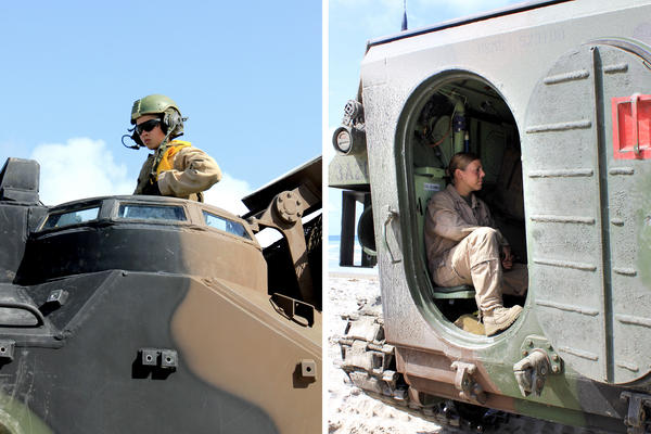 At left, Cpl. Kathryn Bynum prepares to roll into the ocean in an amphibious assault vehicle. At right, Sgt. Cassie McDole sits in an AAV.