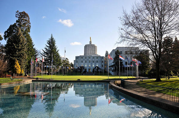 A view of the west side of the Oregon State Capitol in Salem.