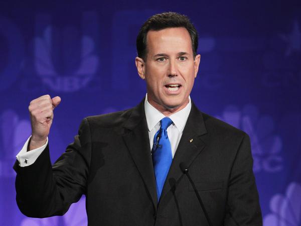 Former U.S. Sen. Rick Santorum (R-PA), shown here in a November 2011 debate, is polling poorly these days. But does that mean he shouldn't get to debate?