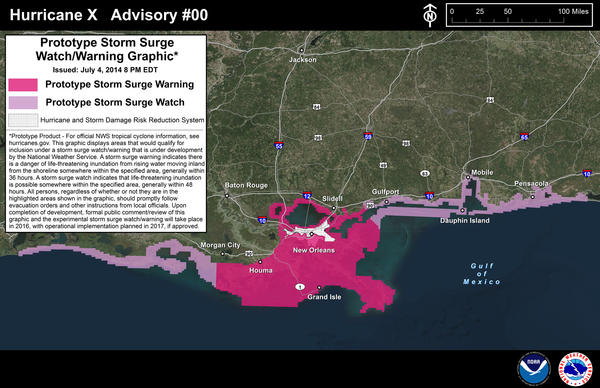 The National Hurricane Center introduced a new storm surge forecast map this year. This map, centered on New Orleans, is a prototype.