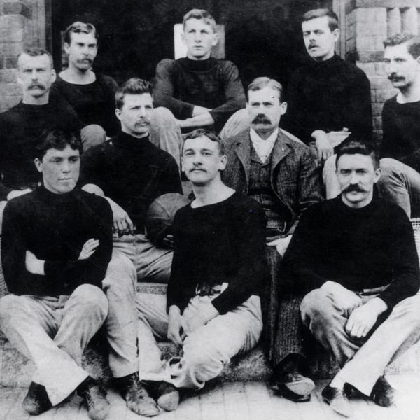 <em></em>The first known basketball team at the International YMCA Training School in Springfield, Mass., 1892