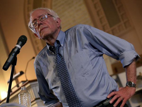 Democratic presidential candidate and U.S. Sen. Bernie Sanders (I-VT) delivers remarks at a town meeting at the South Church on May 27 in Portsmouth, N.H.