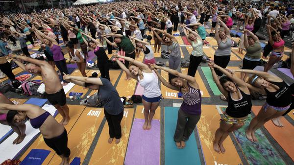 Yoga practitioners celebrate the solstice in New York's Times Square in 2011.