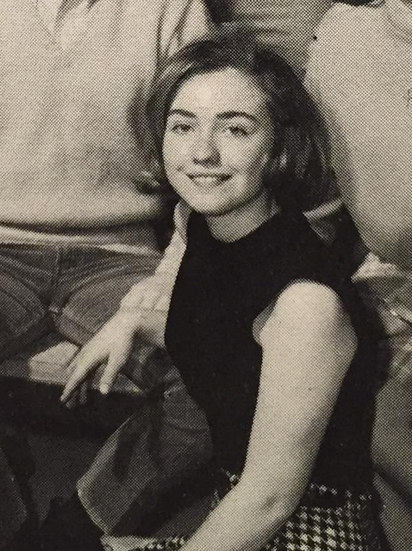 Hillary Clinton in a photo of student council leaders from her high school yearbook.