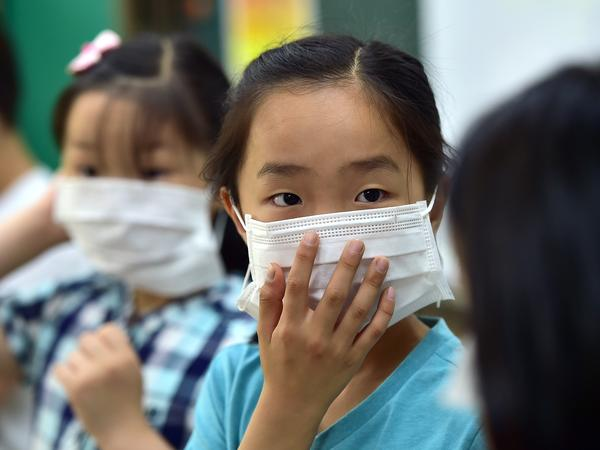 South Korean school students put on face masks during a special class on the MERS virus at an elementary school in Seoul.