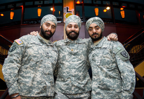 Capt. Tajdeep Rattan (from left), Maj. Kamaljeet Kalsi and Lamba are the only three observant Sikh men currently serving in the U.S. military. Sikhs are hoping that a recent U.S. Supreme Court ruling might lead the Pentagon to lift its ban on facial hair and religious headgear. Exemptions are rarely granted.