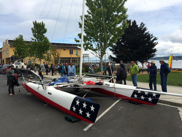 Brothers Chris and Tripp Burd will protect themselves with drysuits while racing this ARC 22 catamaran in the inaugural Race to Alaska.
