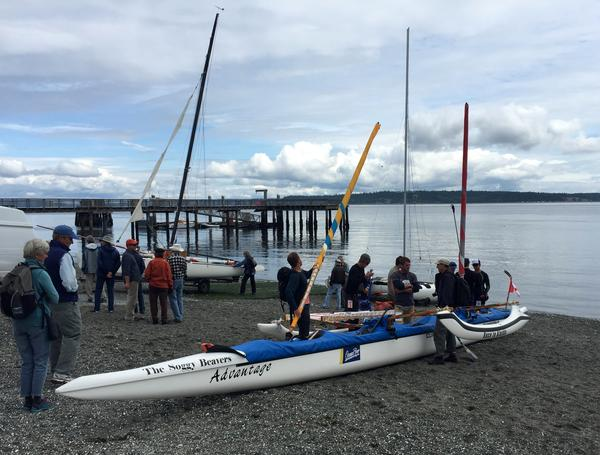 Victoria-based Team Soggy Beavers added small sails and a second outrigger to their six-person canoe.