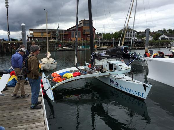 Seattle-based Team Pure & Wild had this outrigger sailboat custom built for the Race to Alaska based on a Polynesian design called a proa.